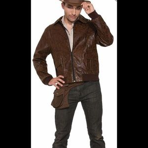 Charades Faux distressed leather jacket halloween